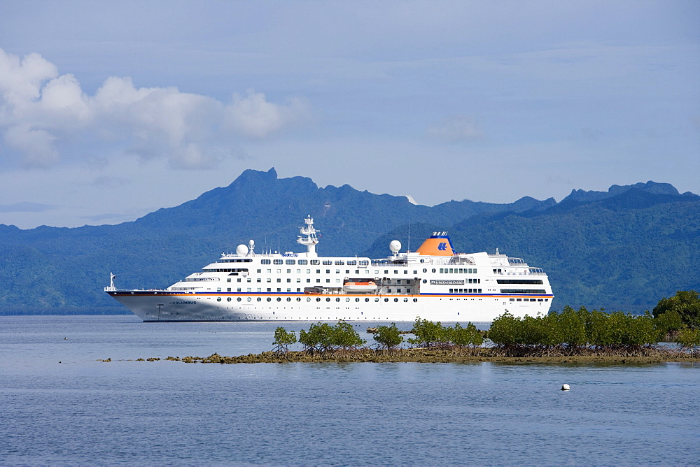 Cruiseship MV Columbus anchoring off Savusavu, Vanua Levu, Fiji Islands, South Pacific, Oceania
