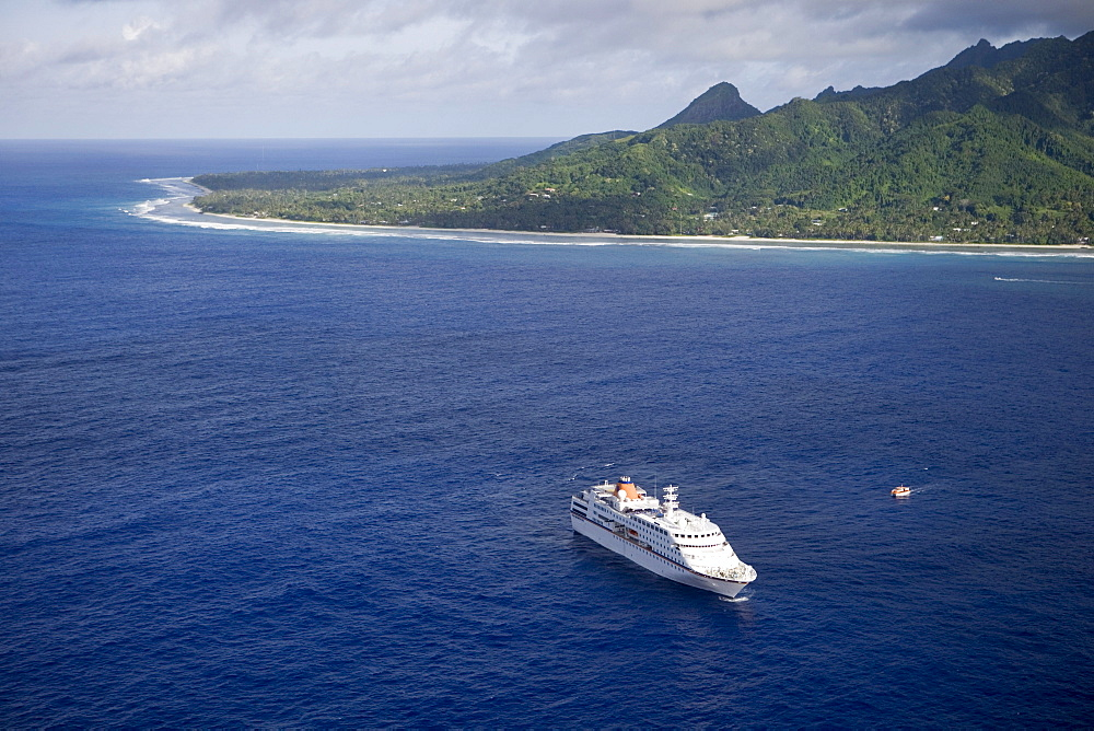 Aerial view of cruiseship MV Columbus off Rarotonga, Cook Islands, South Pacific, Oceania