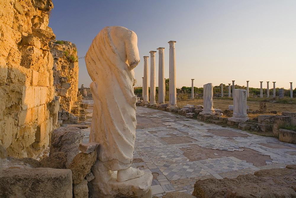 Gymnasium with its columned Palaestra, Ancient city of Salamis, courtyard, Salamis ruins, Salamis, Cyprus
