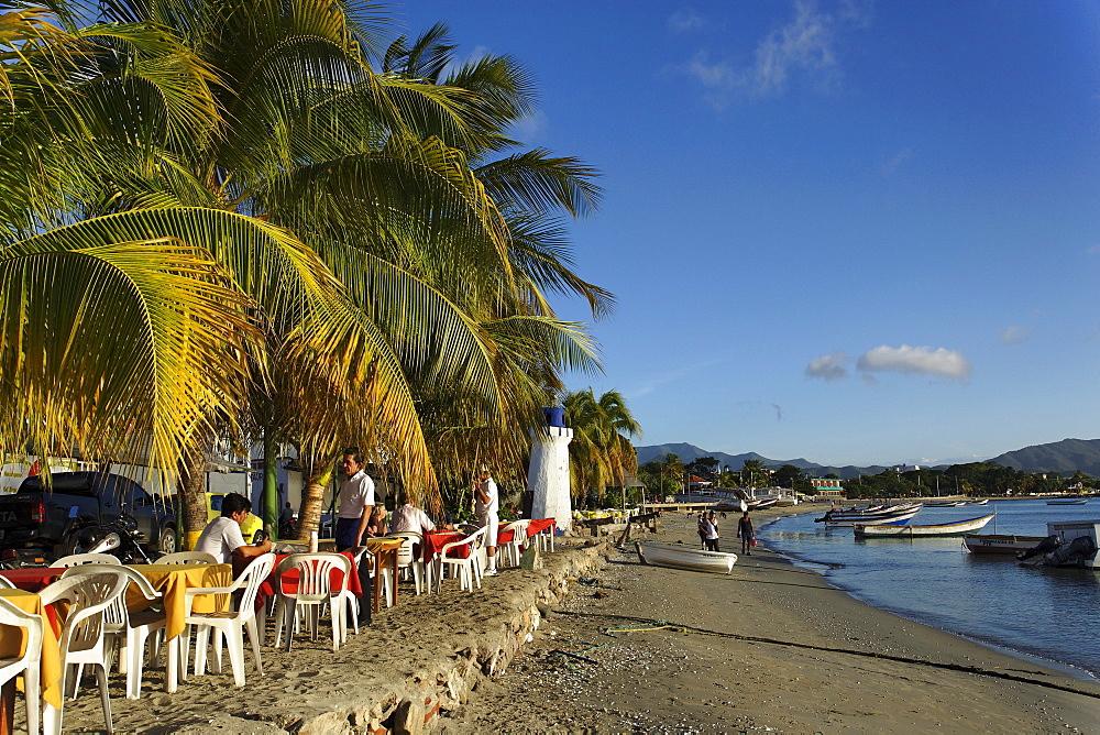 Open-air restaurant at promenade, Juangriego, Isla Margarita, Nueva Esparta, Venezuela