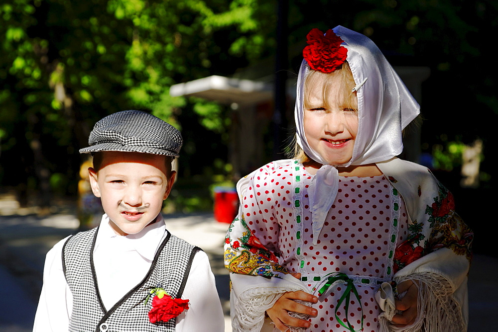 Dressed up children, Fiestas de San Isidro Labrador, Parque del Buen Retiro, Madrid, Spain