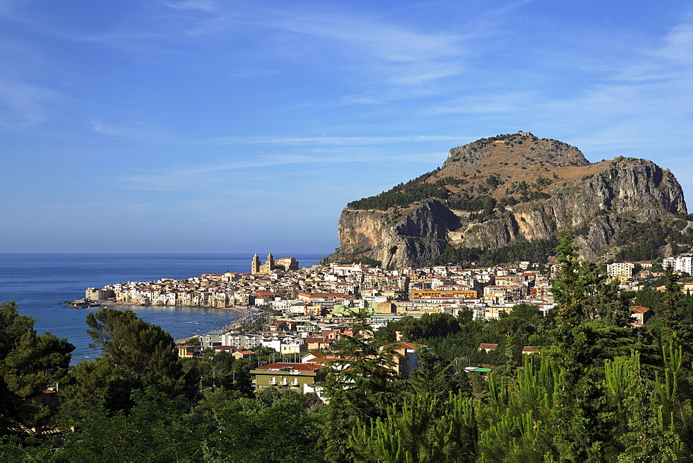 View to Cefalu with Rocca di Cefalu, Cefaly, Sicily, Italy