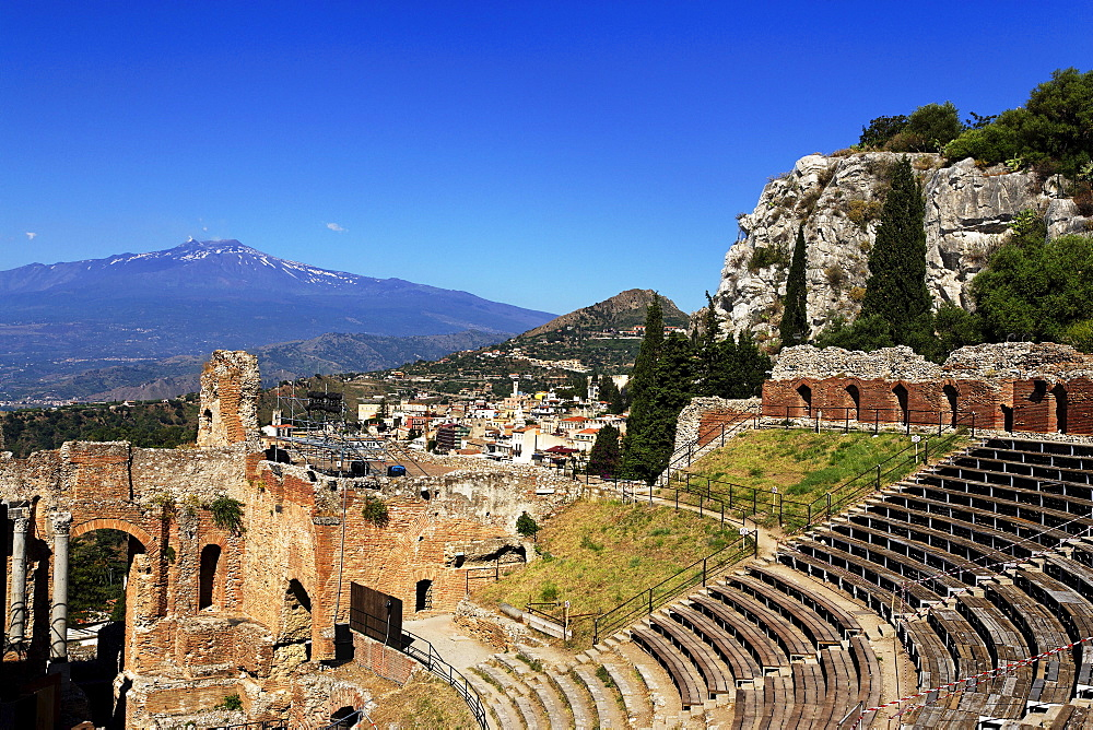 Ancient theater with mount Etna in background, Taormina, Sicily, Italy