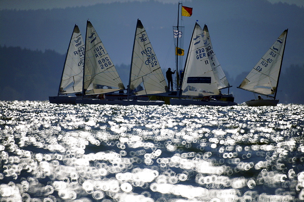 Sailing regatta, Lake Chiemsee, Bavaria, Germany