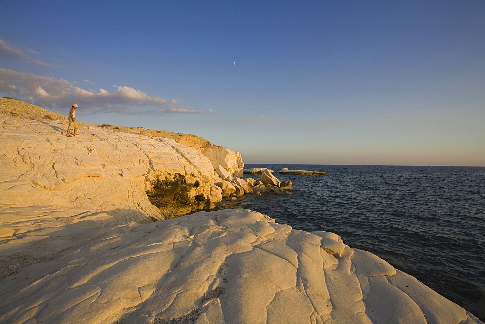 White rocks along the coast at Governors Beach, at sunset, near Lemesos, near Limassol, South Cyprus, Cyprus