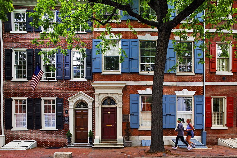 Brownstones on Walnut Street, Philadelphia, Pennsylvania, USA