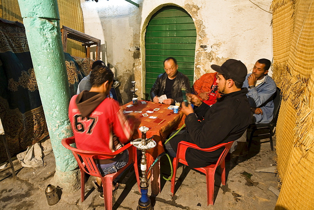 Cardplayers in the Medina, Old Town, Tripoli, Libya, Africa