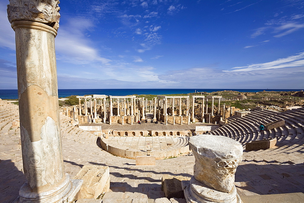 Ruins of the Theatre of Leptis Magna Archaeological Site, Libya, Africa