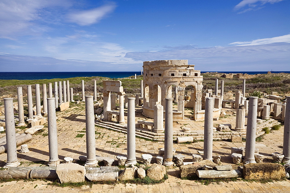 The Market, Archaeological Site of Leptis Magna, Libya, Africa