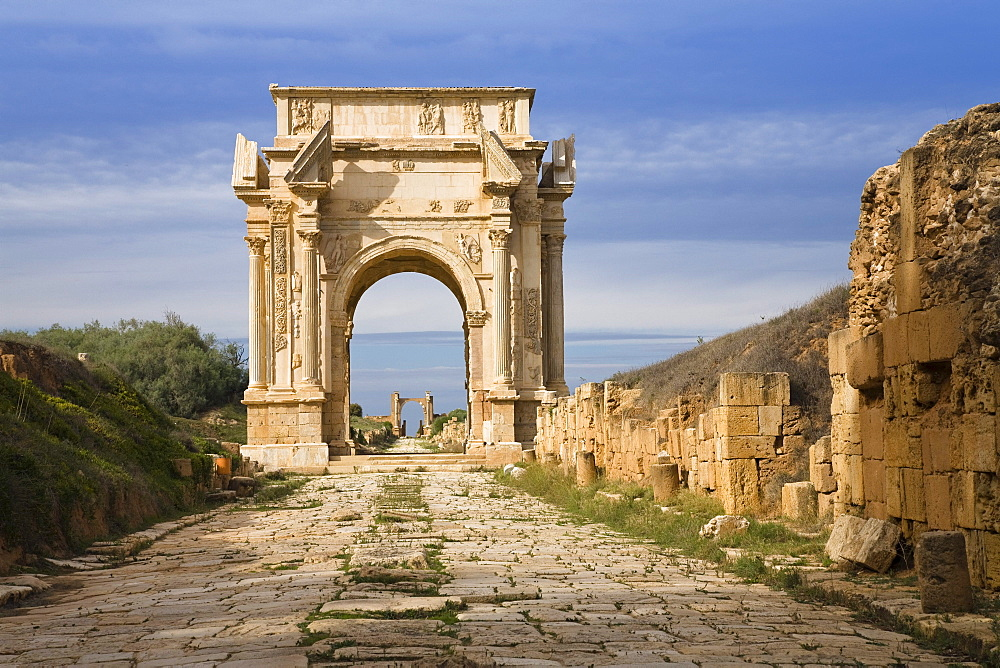 Arch of the roman Emperor Septimius Severus, Archaeological Site of Leptis Magna, Libya, Africa