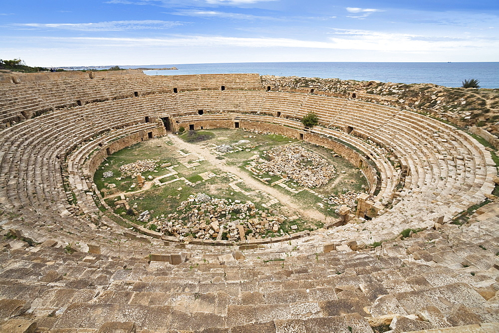Roman Amphitheatre, Archaeological Site of Leptis Magna, Libya, Africa