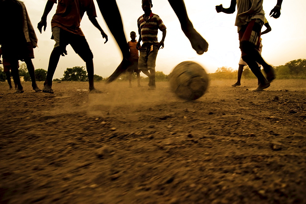 Soccer match bare-footed, near Kara, Togo