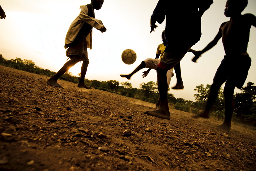 Soccer match bare-footed, near Kara, Togo - 1113-31263