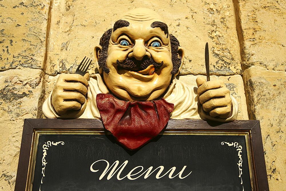 Menu board at a restaurant, Valletta, Malta, Europe