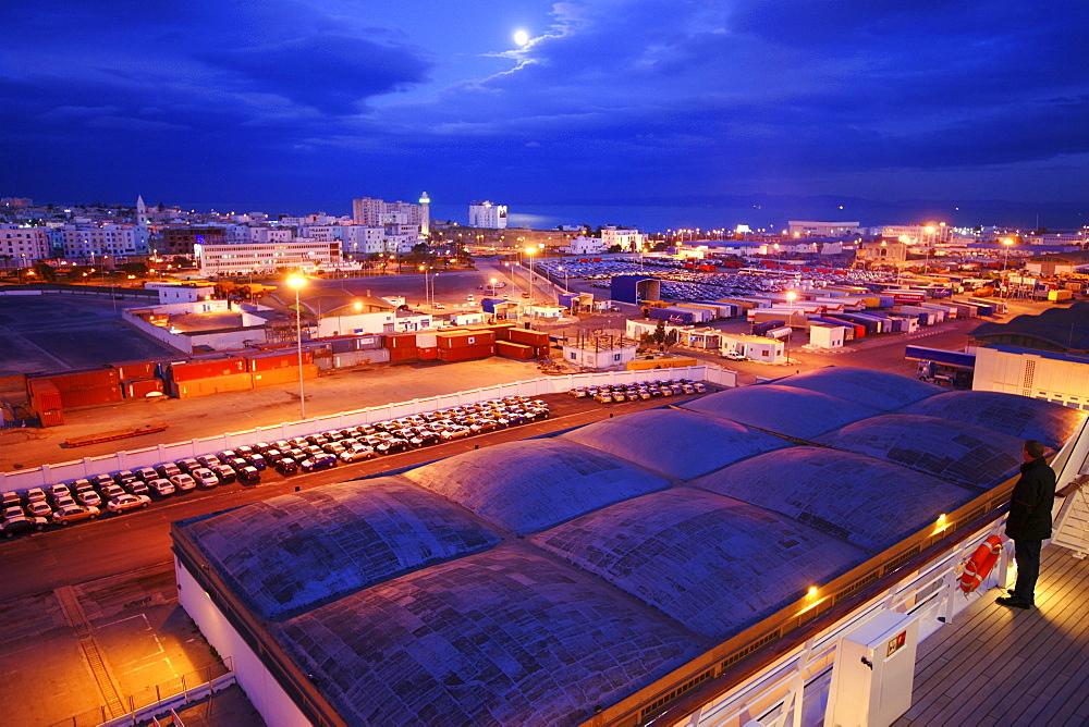 AIDA Bella Cruiser in the port of La Goulette in the evening, Tunisia, Africa