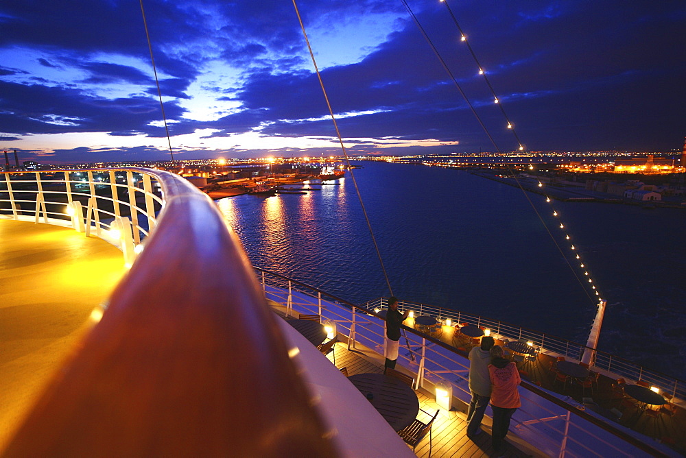 AIDA Bella Cruiser at the port in the evening, La Goulette, Tunisia, Africa