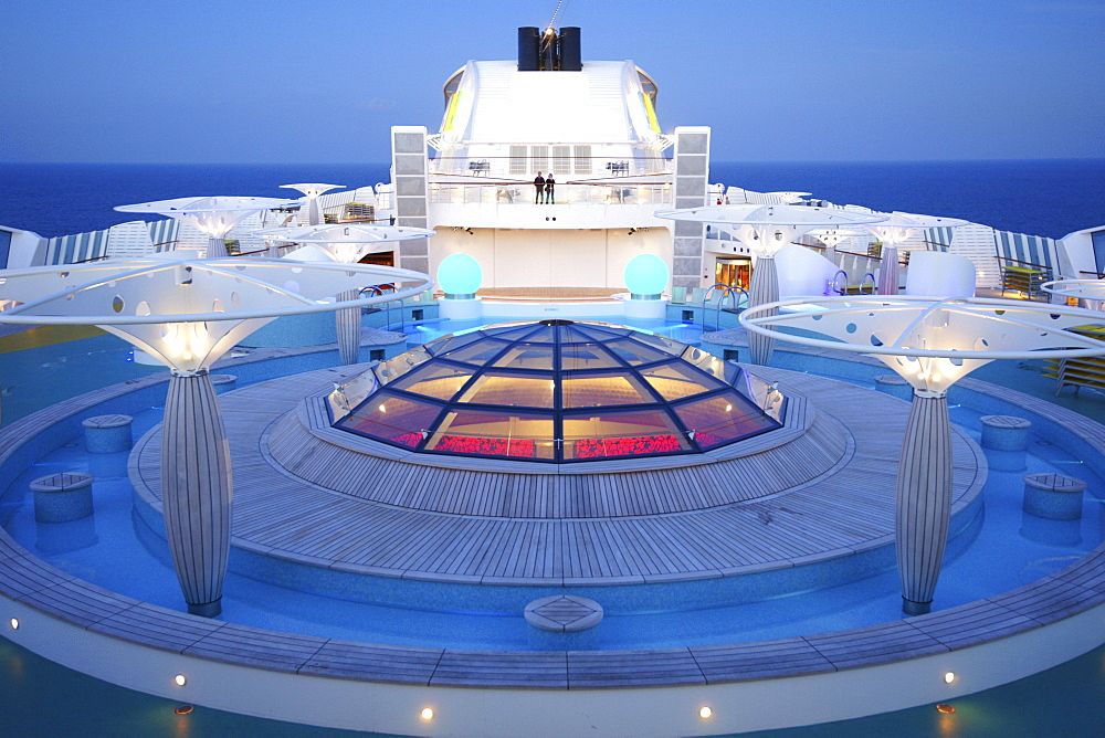 On the deck of AIDA Bella cruise ship in the evening, Mediterranean Sea