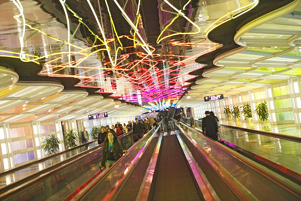 Light sculptures and moving walkway at O'Hare International Airport, Chicago, Illinois, USA