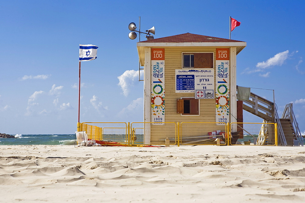 Gordon Beach lifeguard stand in the sunlight, Tel Aviv, Israel, Middle East
