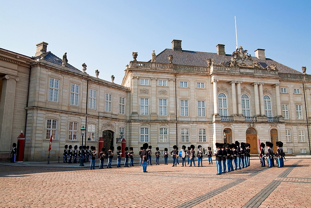 Duty change of royal guards in front of Amalienborg palace, Copenhagen, Denmark