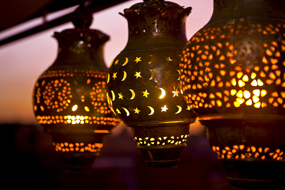 Moroccan lamps on a rooftop terrace at CafÈ Arabe restaurant, Marrakech, Morocco, Africa