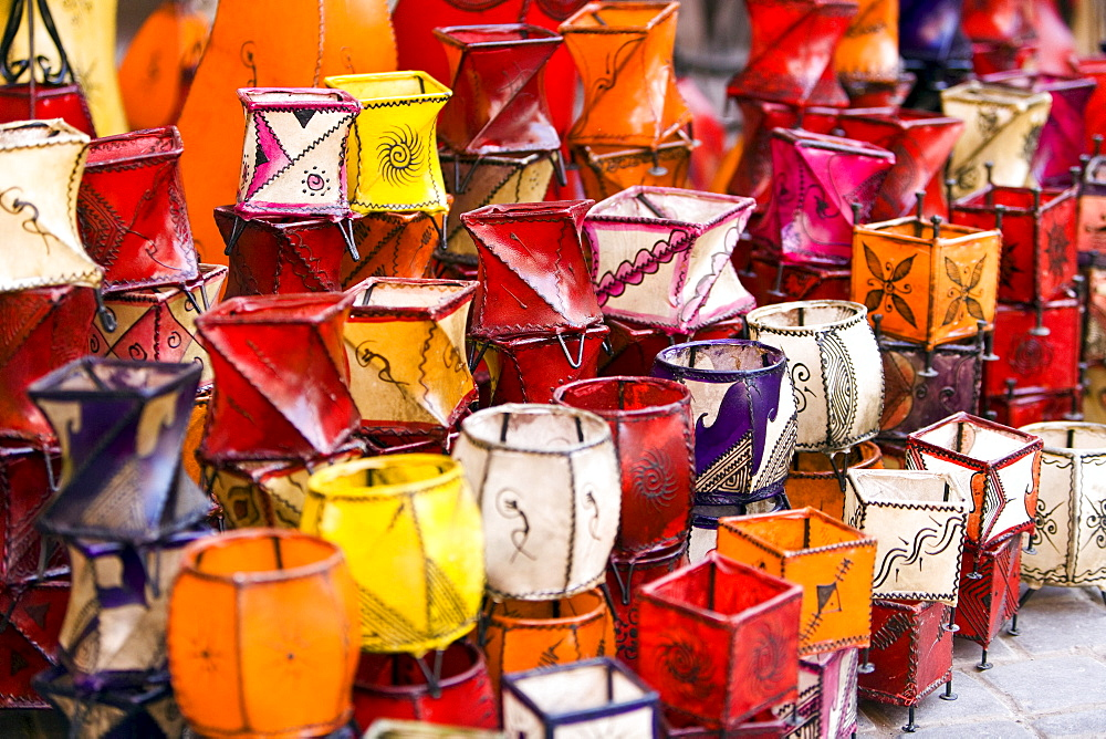 Lamps for sale in the souks, Marrakech, Morocco, Africa