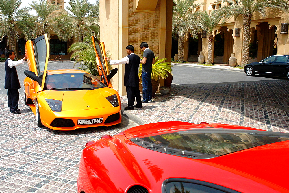 Luxury sport Cars outside Mina A Salam Hotel, Dubai, United Arab Emirates, UAE
