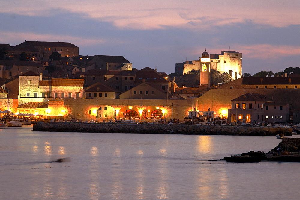 Dubrovnik harbour at twilight, Dominican Monastery, Old City of Dubrovnik, Croatia, Europe