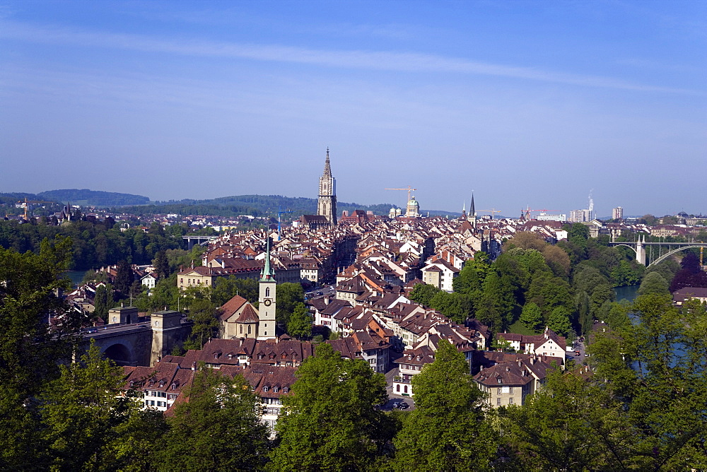 View of the Old City of Berne with Nydegg Church and Cathedral, Berner Muenster in the background, Berne, Switzerland