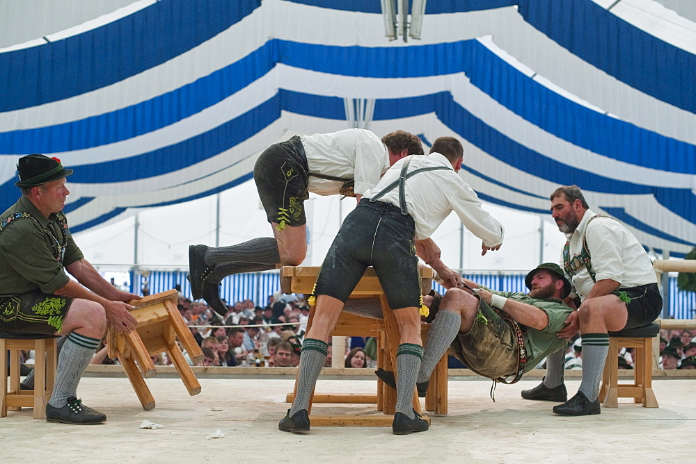 Competition, Alpine Finger Wrestling Championship, Antdorf, Upper Bavaria, Germany