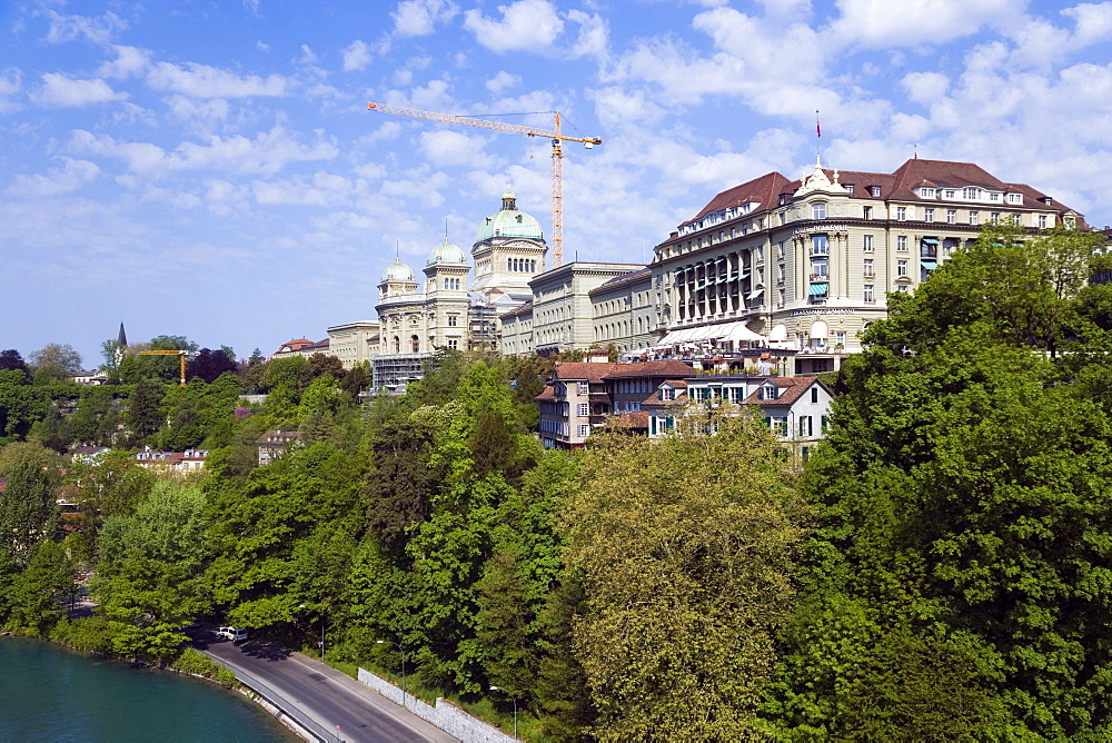 View of the House of Parliament, Bundeshaus, Bellevue, Old City of Berne, Berne, Switzerland