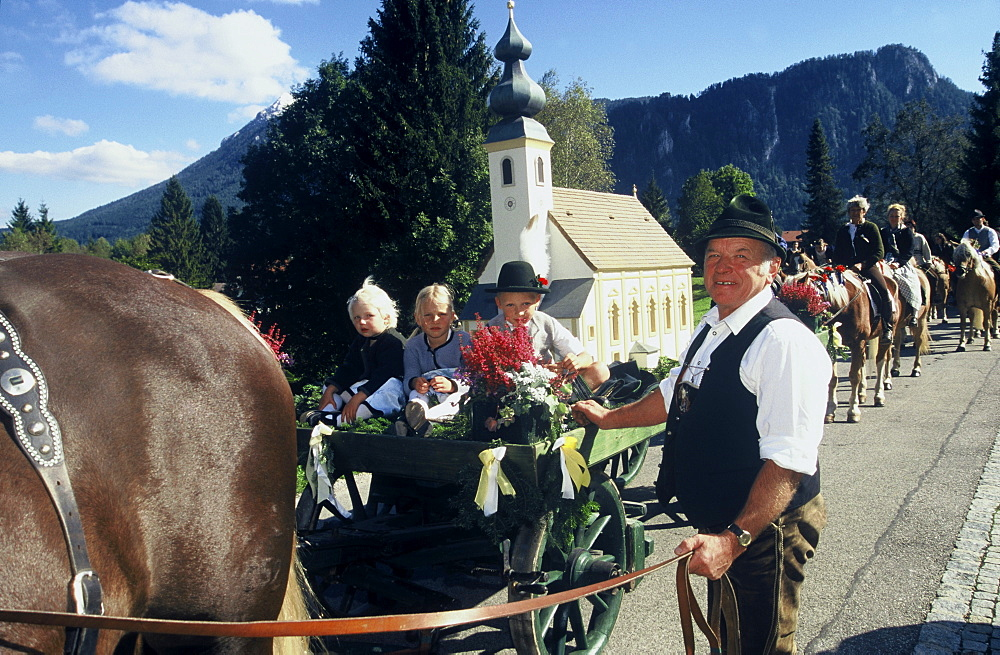Church anniversary parish fair procession at Samerberg, Tradition, Upper Bavaria, Bavaria, Germany