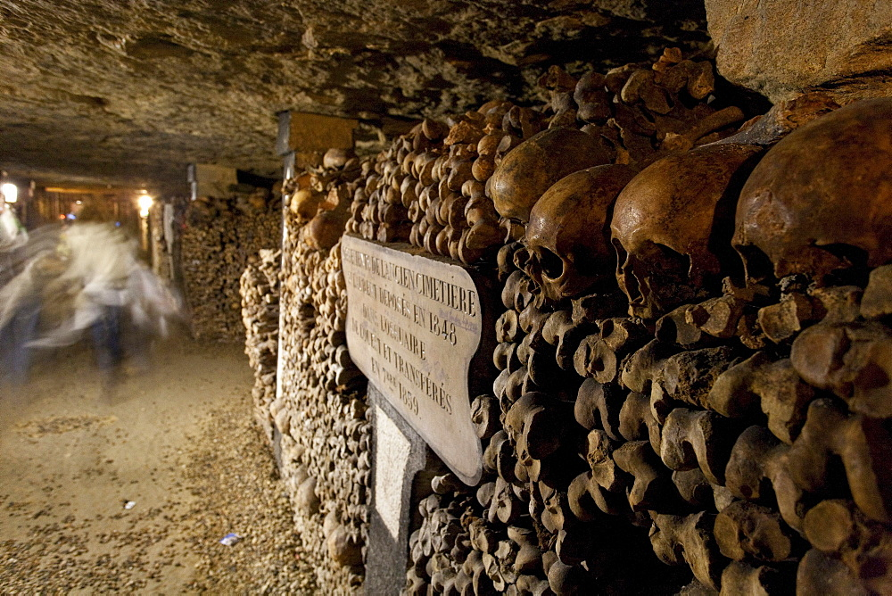 Skulls and bones in the catacombs of Paris, Les Catacombes de Paris, Paris, France, Europe