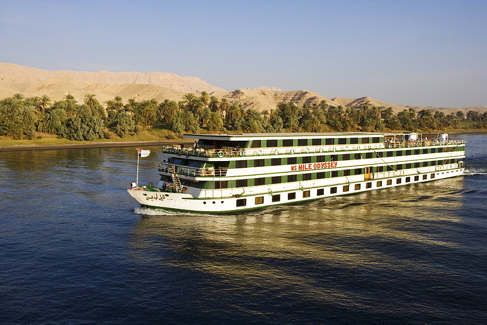 Cruise ship on river Nile between Edfu and Kom Ombo, Egypt, Africa