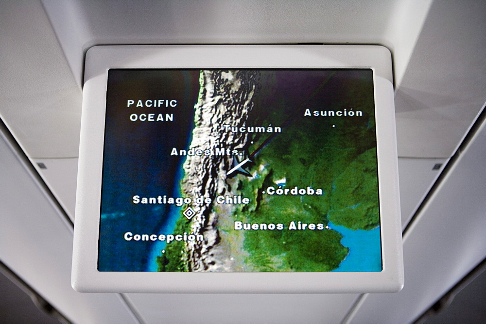 Airshow flight tracking display aboard Lufthansa Airbus A340-600, above Chile, South America, America