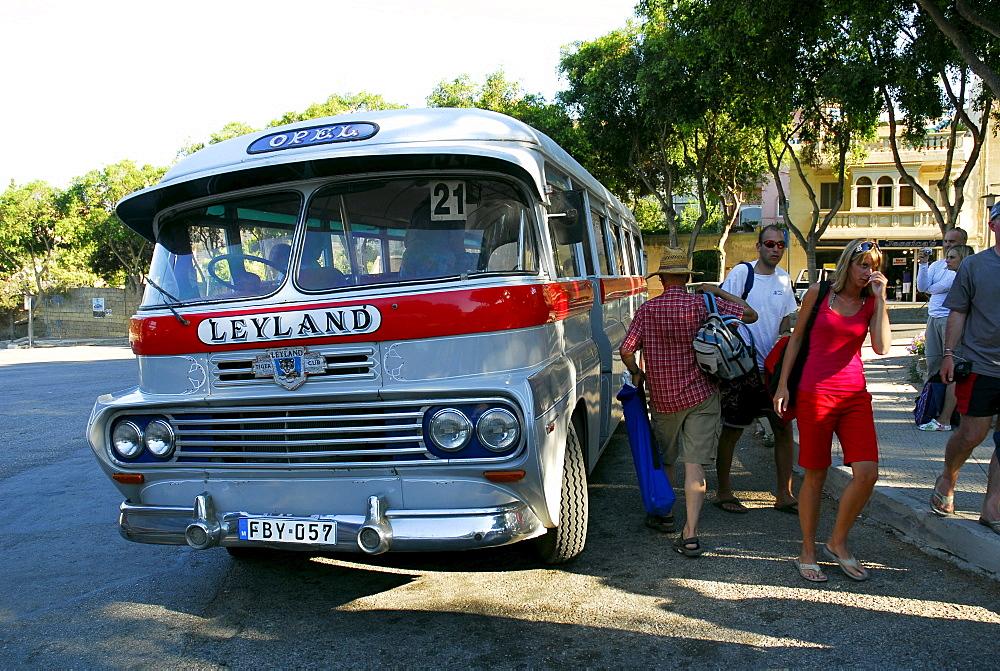 Old Leyland autobus, bus station in Victoria, Rabat, Gozo Island, Malta, Mediterranean, Europe