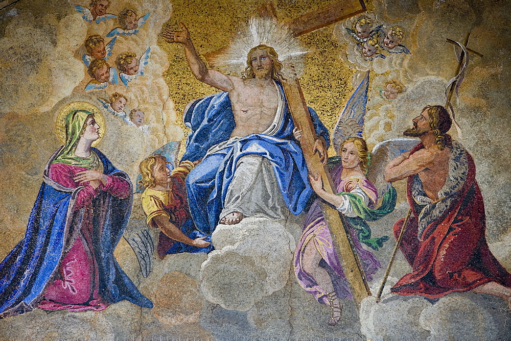 Christ mosaic on St Mark's Basilica Cathedral on Piazza San Marco, Venice, Veneto, Italy