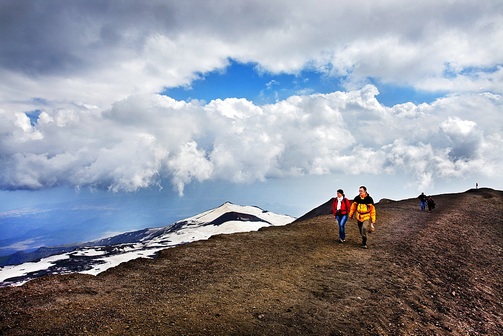 Hiker at Mount Etna, Sicily, Italy