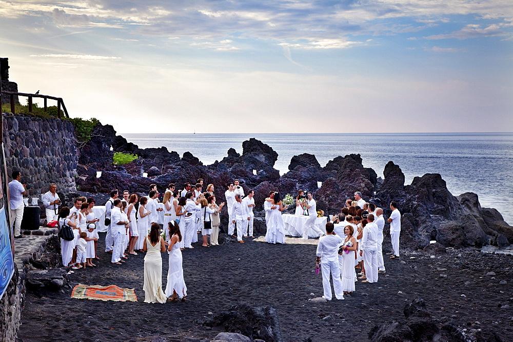 Wedding celebration, Stromboli volcanic Island, Aeolian islands, Sicily, Italy