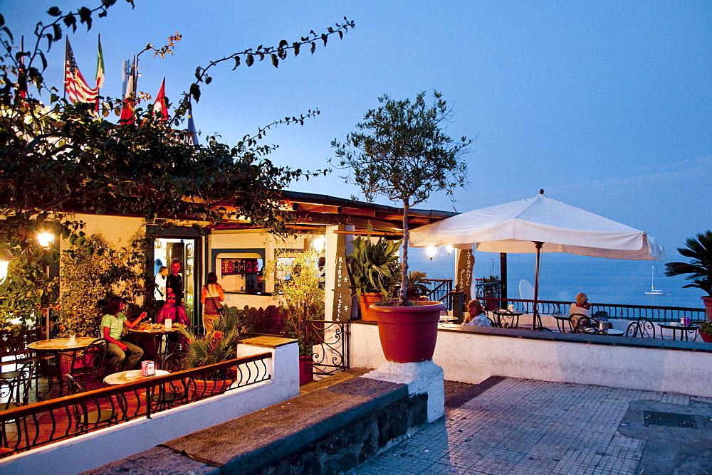 Bar, Piazza San Vincenzo, Stromboli volcanic Island, Aeolian islands, Sicily, Italy