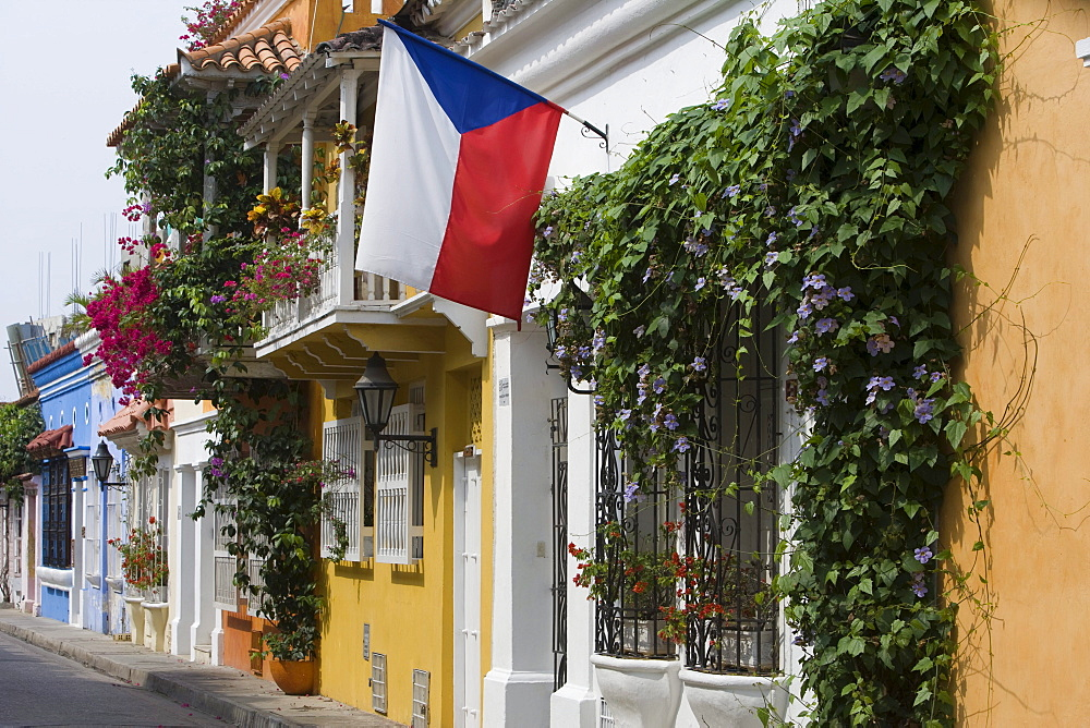 Colombian flag and colonial houses, Cartagena, Bolivar, Colombia