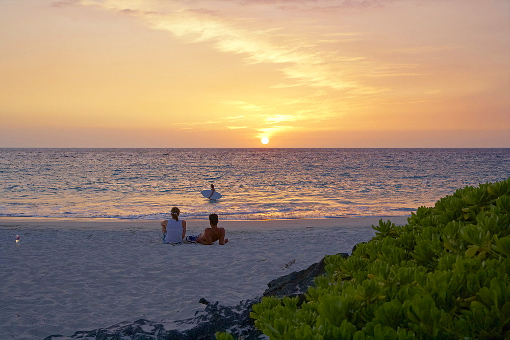 People on the beach at sunset, Kekaha Kai State Park, Big Island, Hawaii, USA, America