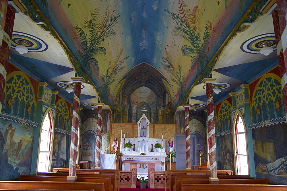 Interior view of St. Benedict's Painted Church, Honaunau, Big Island, Hawaii, USA, America