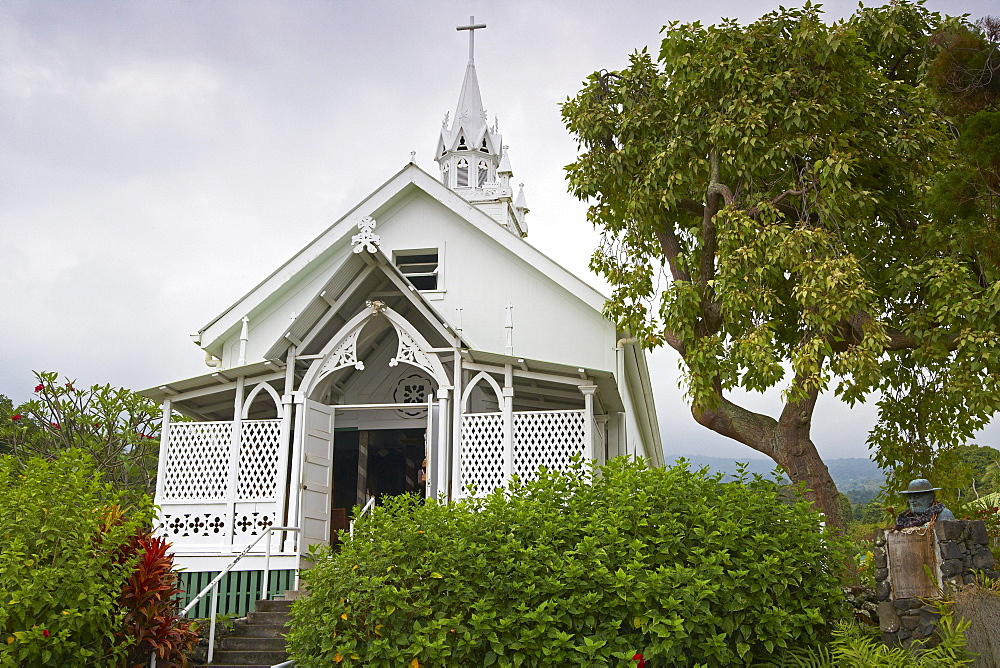 St. Benedict's Painted Church under clouded sky, Honaunau, Big Island, Hawaii, USA, America