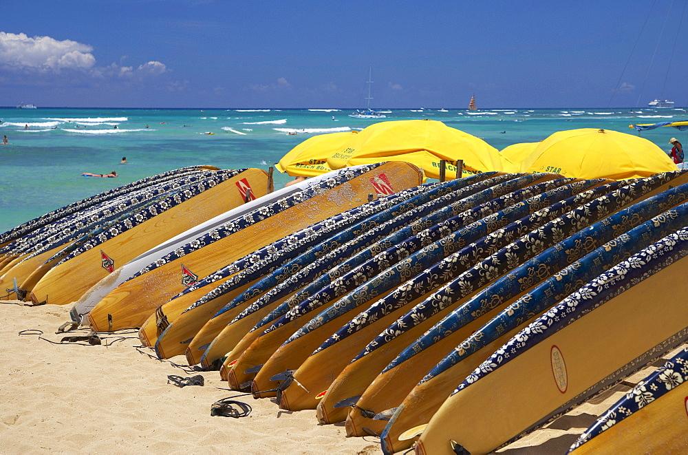 Surfboards at Waikiki Beach, Honolulu, Oahu, Island, Hawaii, USA, America
