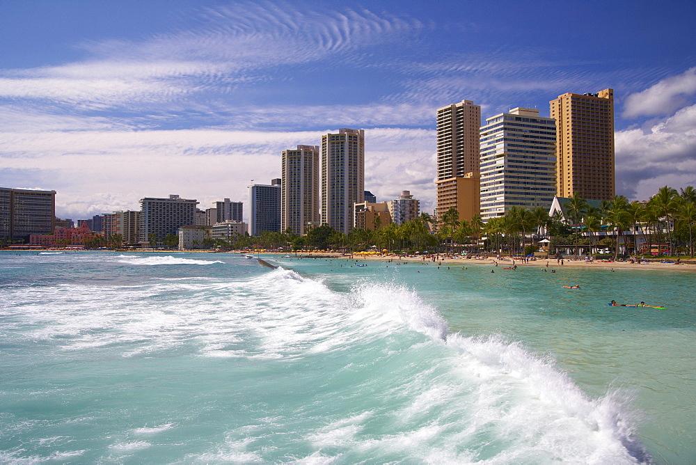 View at waves and hotels at the beach, Waikiki Beach, Honolulu, Oahu, Island, Hawaii, USA, America