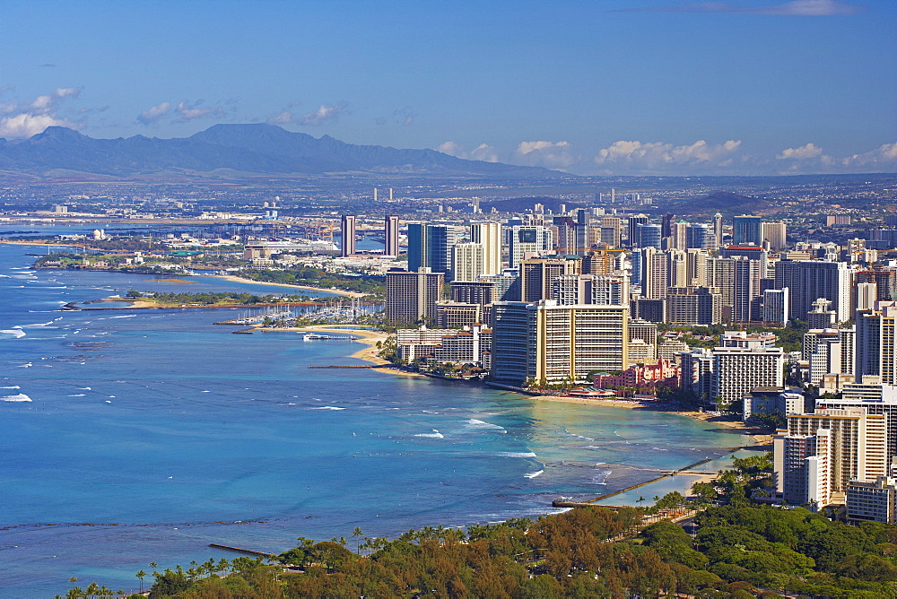 View at high rise buildings of Honolulu and Waikiki Beach, Oahu, Hawaii, USA, America
