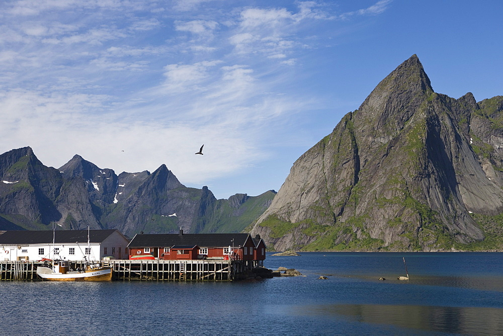 Fishing Boat and Fishery, near Hamnoy, Moskenesoy, Lofoten, Nordland, Norway, Europe