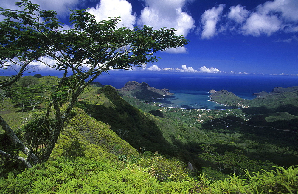 View to the town of Taiohea on the island of Nuku Hiva, French Polynesia