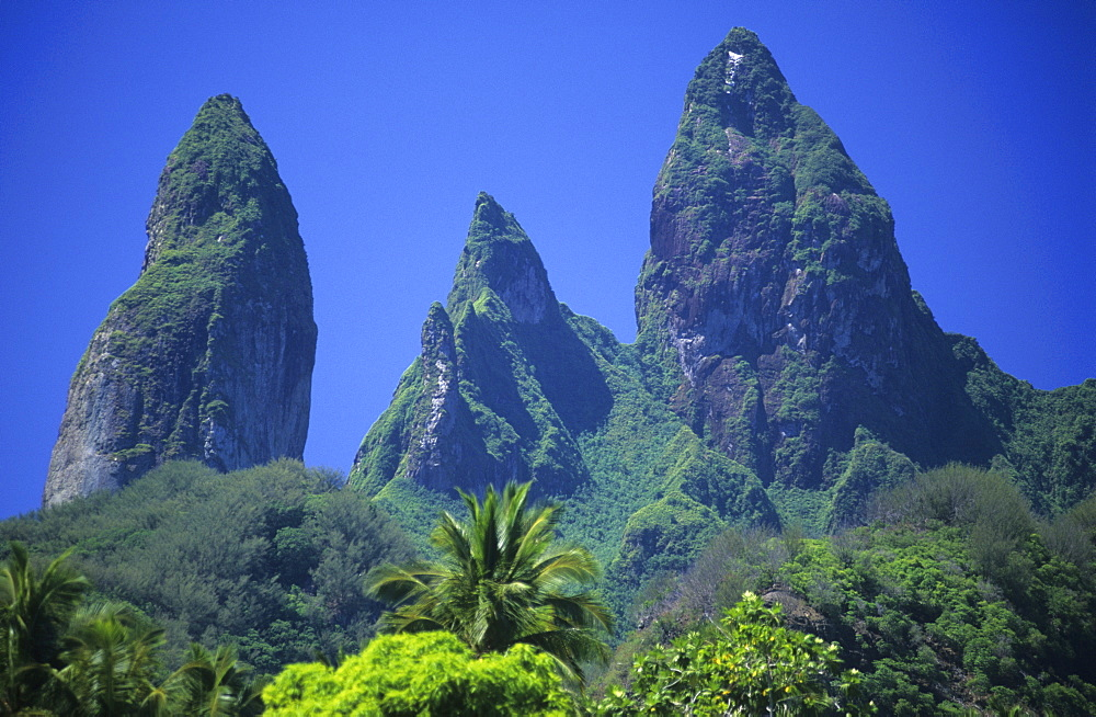 The island of Ua Pou with its unique rock spires, French Polynesia